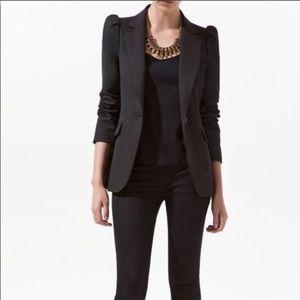 Zara black blazer with gathered/puffed sleeves